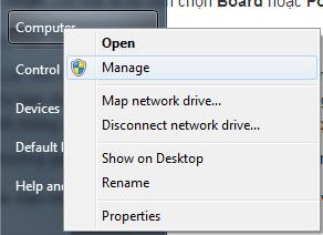 Vào Start - chuột phải vào Computer