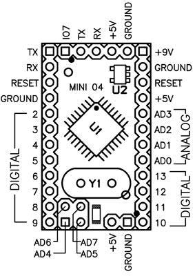 Sơ đồ chân Arduino MINI 04 và 05